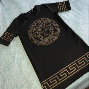 Versace black and gold dress